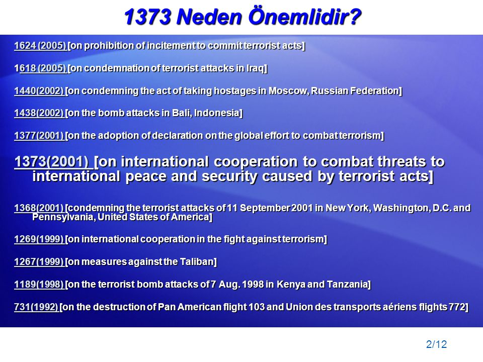 1373 Neden Önemlidir 1624 (2005) [on prohibition of incitement to commit terrorist acts]